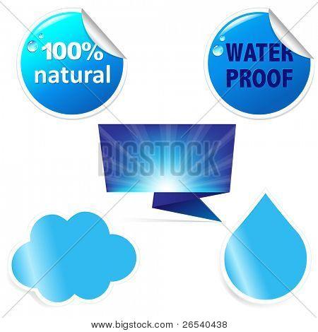 Water Sticker Set, Vector Illustration