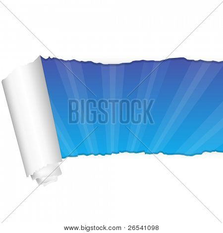Paper And Rays, Isolated On White Background, Vector Illustration