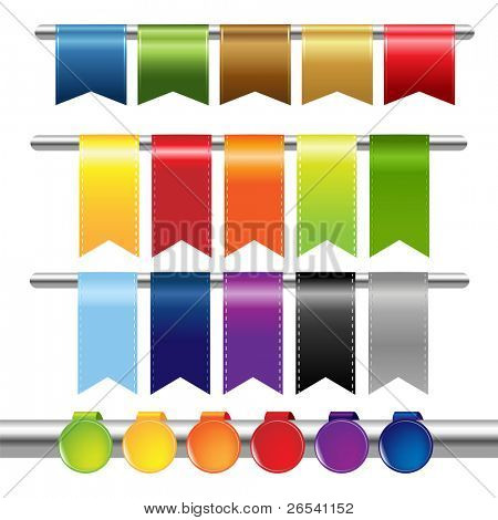 Color Web Ribbons, Isolated On White Background, Vector Illustration