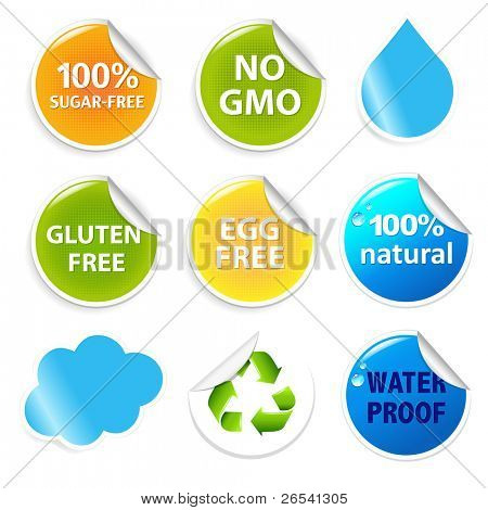 Eco Symbols Eco Labels Set, Isolated On White Background