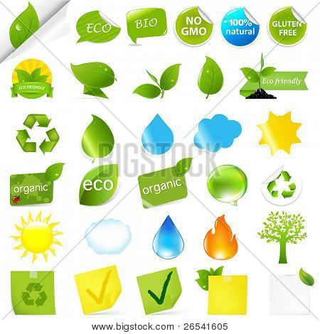 Eco Symbols Set, Isolated On White Background, Vector Illustration