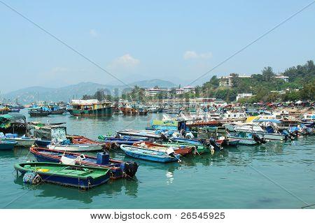 Fishing Boats Along The Coast In Cheung Chau, Hong Kong.