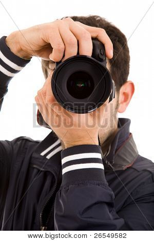 Close-up of a young photographer with camera, isolated on white