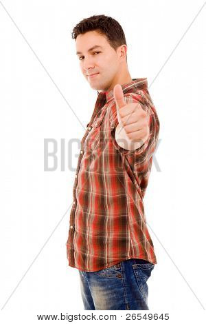 Happy young man showing thumb up and smiling. Isolated on white background