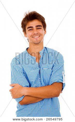 Portrait of a handsome young casual man, isolated on white