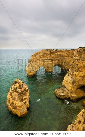 Yellow cliffs at praia da Marinha in Algarve, south of Portugal
