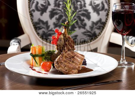 A Rib Steak, selective focus on meat.