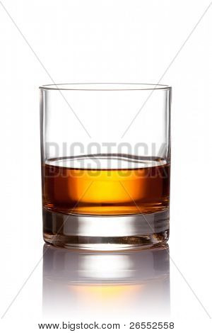 Glass of scotch whiskey. With clipping path