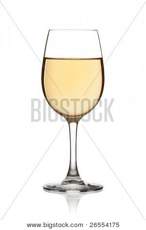 Glass of white wine on a white background and with soft shadow. The file includes a clipping path.