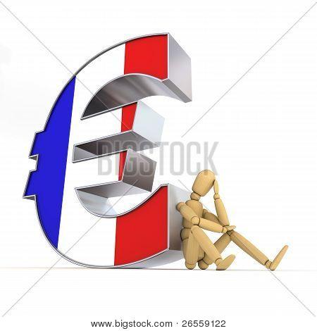 Muñeca sentada en el símbolo del Euro francés