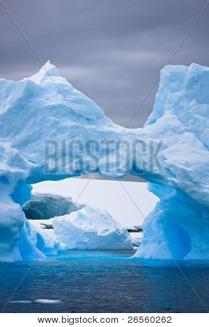 Large Antarctic iceberg with a cavity inside