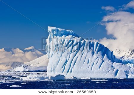 Antarctic glacier in the snow