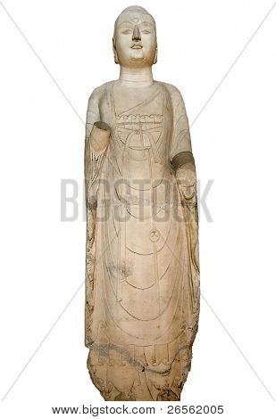 Ancient statue of Buddha sculpted in white stone