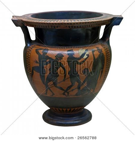 Ancient greek vase in black over red ceramic depicting people with spears and a musician