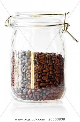 Coffee beans in a cristal jar on a white background