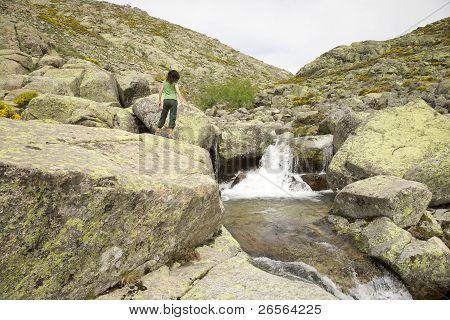 Woman At Green Cascade