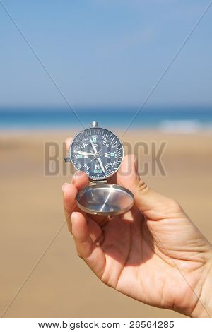 Woman Hand With Silver Compass