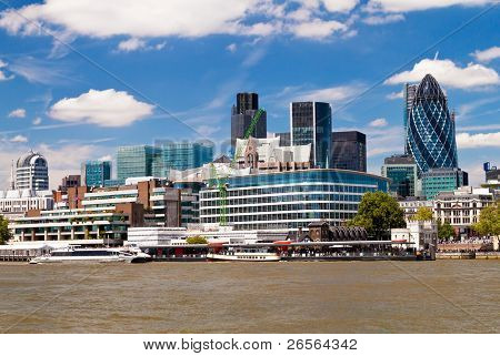 The City of London skyline in a clear summer day