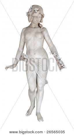 Sculpture of a nude young woman with flowers isolated on white with clipping path