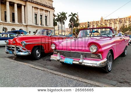 HAVANA - NOV 16: American classic cars are shown November 16, 2010 in Havana. Cubans, unable to buy newer models, keep thousands of them running despite the fact that parts have not been produced for decades.