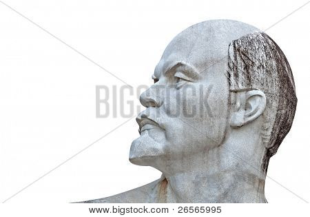 Sculpture of Lenin isolated on white with clipping path