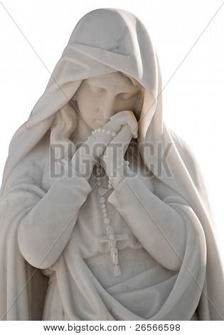 Marble statue of a virgin with a sorrow expression and wearing a christian cross isolated on white with clipping path