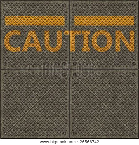 Seamless panel texture with a warning yellow line and the word CAUTION
