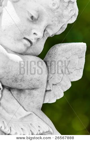 Close up view of a black and white  infant angel or cherub  statue with a diffused green vegetation background