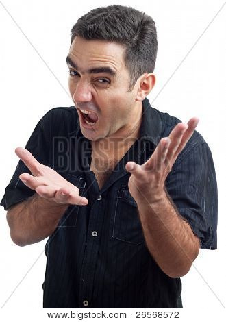 Latin man yelling with a violent or desperate face isolated on a white background