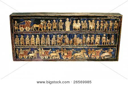 Ancient sumerian artifact known as the Standard of Ur