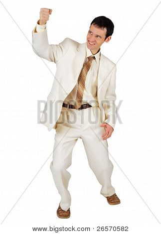 Gleeful Businessman Isolated On White