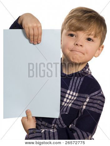Funny little boy holding a blank blue sign for your message. Beautiful caucasian model. Isolated on white background.