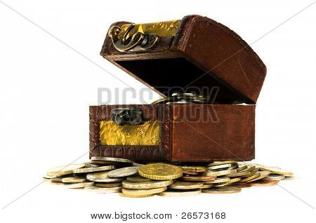 Wooden treasure  chest of money, isolated on white background