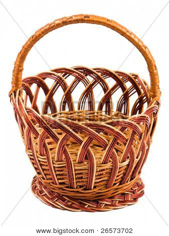 Traditional wicker basket isolated on white background