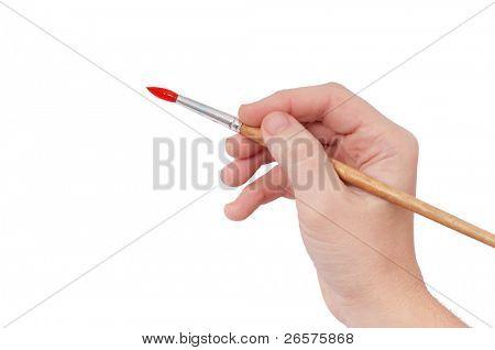 Feminino mão segurando pincel isolado sobre fundo branco