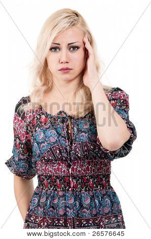 Portrait of a beautiful young woman suffering from severe headache - isolated on white background
