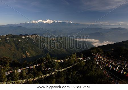 Landscape With Payer Flags, Darjeeling And Khangchengdzonga Mountain Range