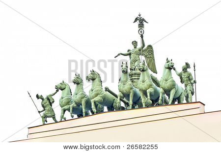Statues at Palace Area in Saint-Petersburg city isolated on white