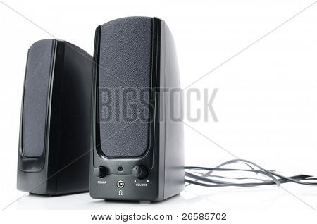 Two audio speakers isolated on white