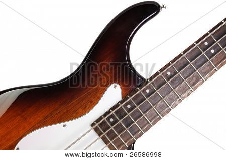 Part of bass guitar isolated on white