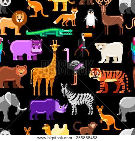 Wild Exotic Animals On Black