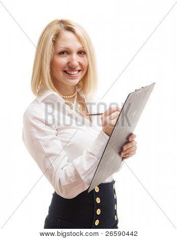 Beautiful woman on a white background