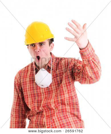 Portrait of worker. Isolated over white.