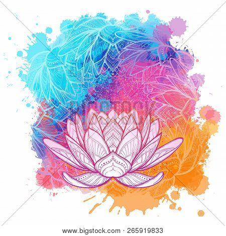 White Lotus Flower Linear Drawing