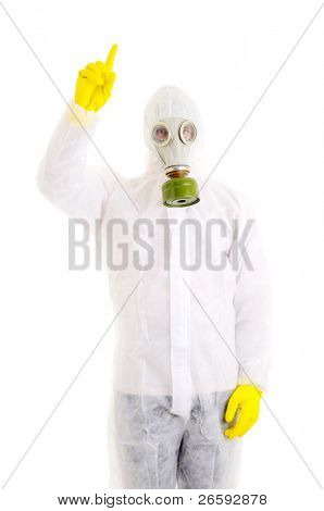 Man with gasmask. Isolated over white.