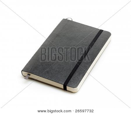 Black moleskine isolated over white.