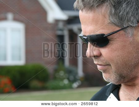 Headshot Profile Of Middle Aged Man In Outdoors