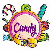 Candy Shop Hand Drawn Vector Logo Design. Hand Written Lettering For Sweet Bar, Candy Store Sign Boa poster