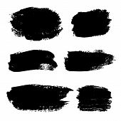 Set Of Grunge Elements. Collection Of Artistic Grungy Black Paint Hand Made Creative Brush Stroke Se poster