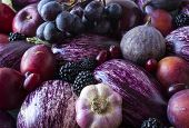 Background Of Fresh Vegetables And Fruits. Purple Eggplant, Blackberries, Plums, Grapes, Figs, Apple poster